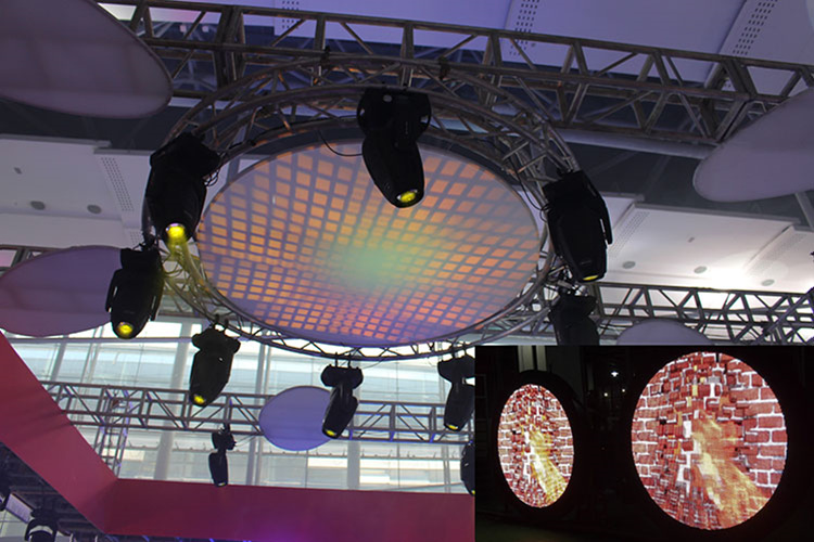 Rotating LED Lighting Truss With Display
